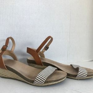 "Size 6 Merona Navy, White, Brown 1.5"" Wedge Sandal"